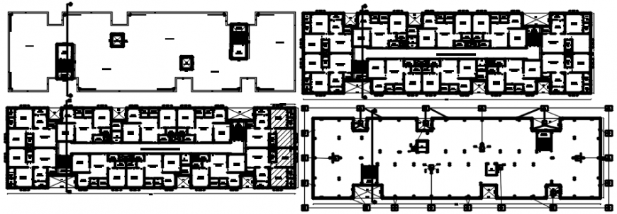 Floor plan layout drawing details of residential flats building dwg file