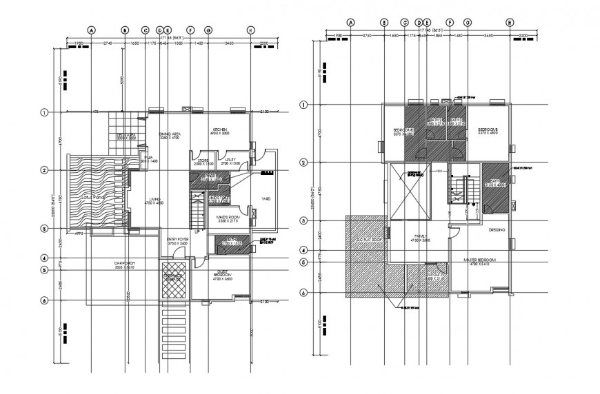Floor plan layout drawing details of residential two level house dwg file