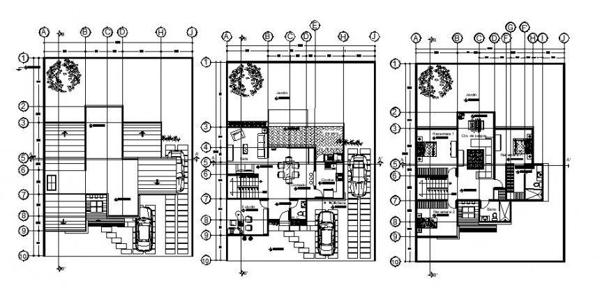 Floor plan layout plan drawing details of three level house dwg file