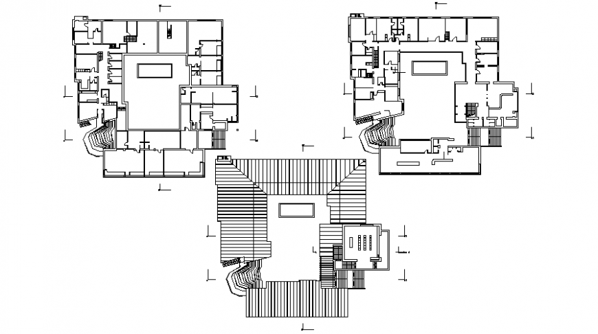 Floor plan of building drawings 2d view autocad software file