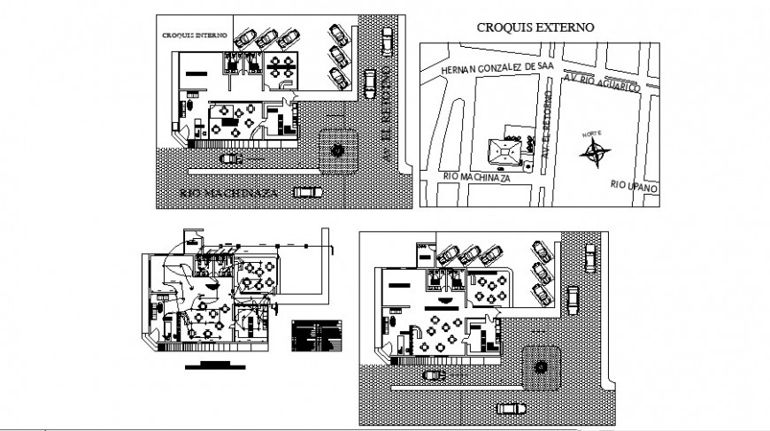 Floor plan of cafe area in auto cad file