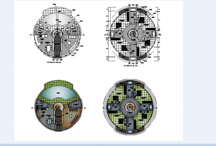 Floor plan of circular shape house in auto cad file