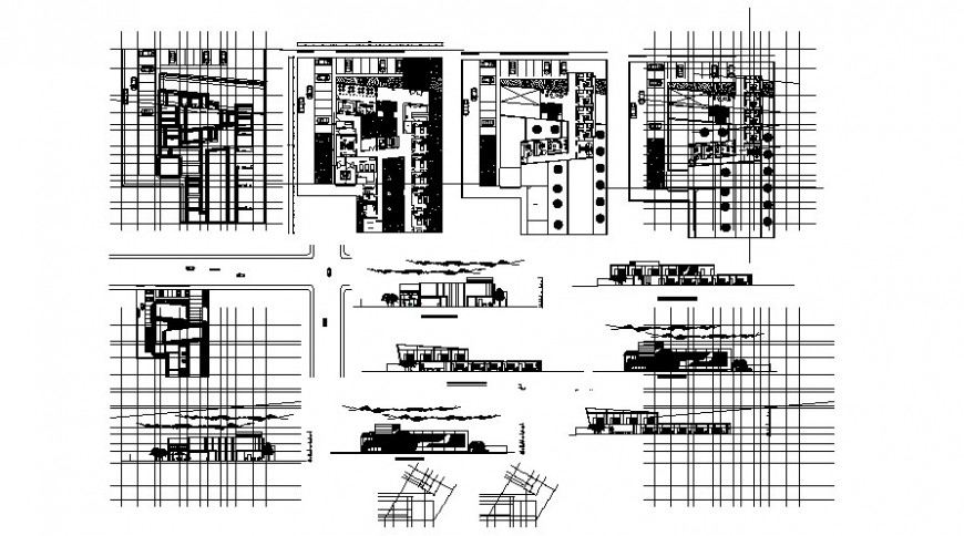 Floor plan of clinic with elevation in AutoCAD file
