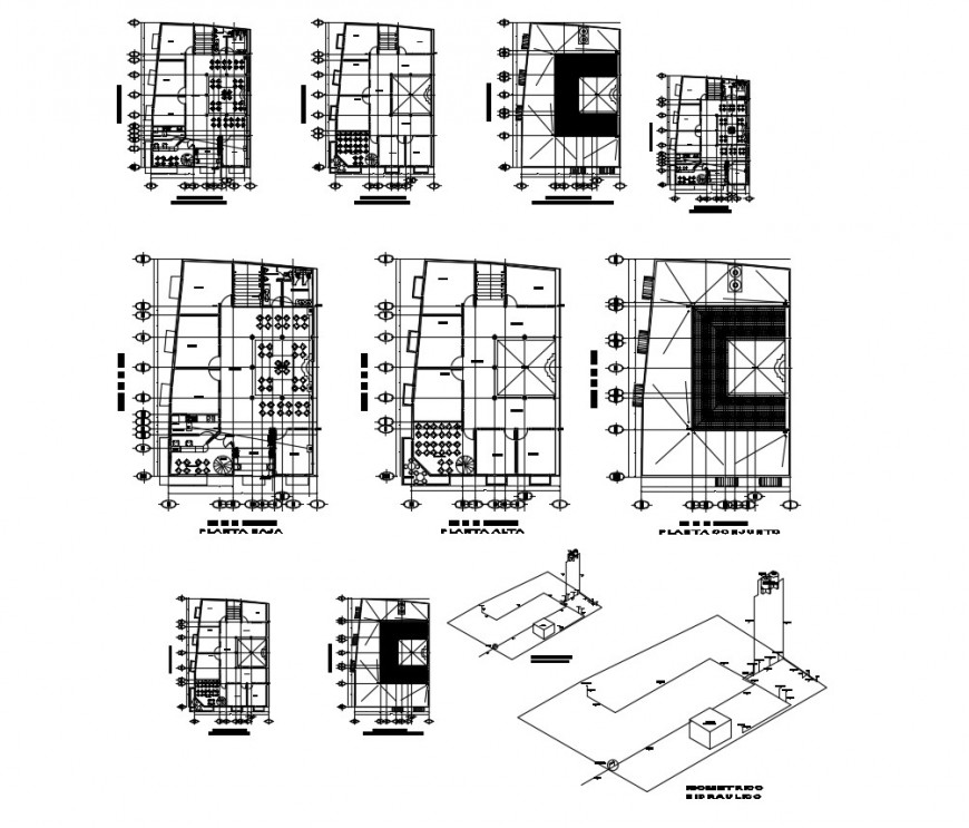 Floor plan of commercial Centre with detail in auto cad