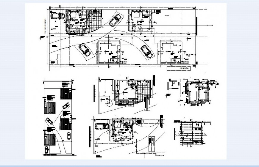 Floor plan of home with parking area in auto cad file