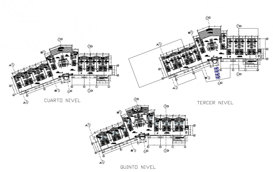 Floor plan of hotel in auto cad files