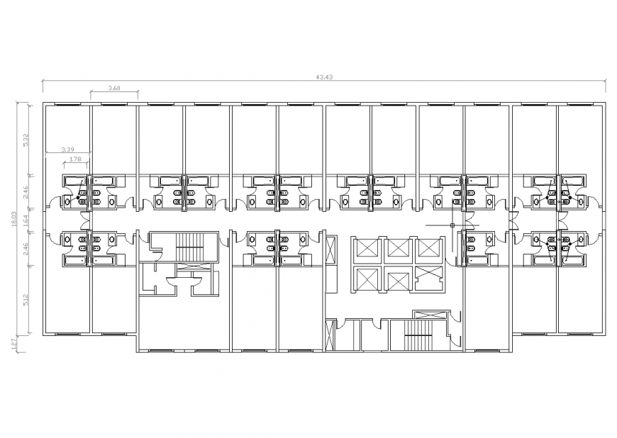 Floor plan of hotel with architecture design dwg file