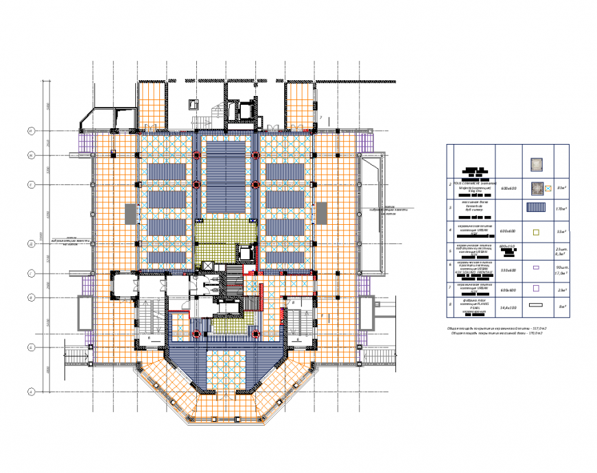 Floor plan of hotel with area detail dwg file