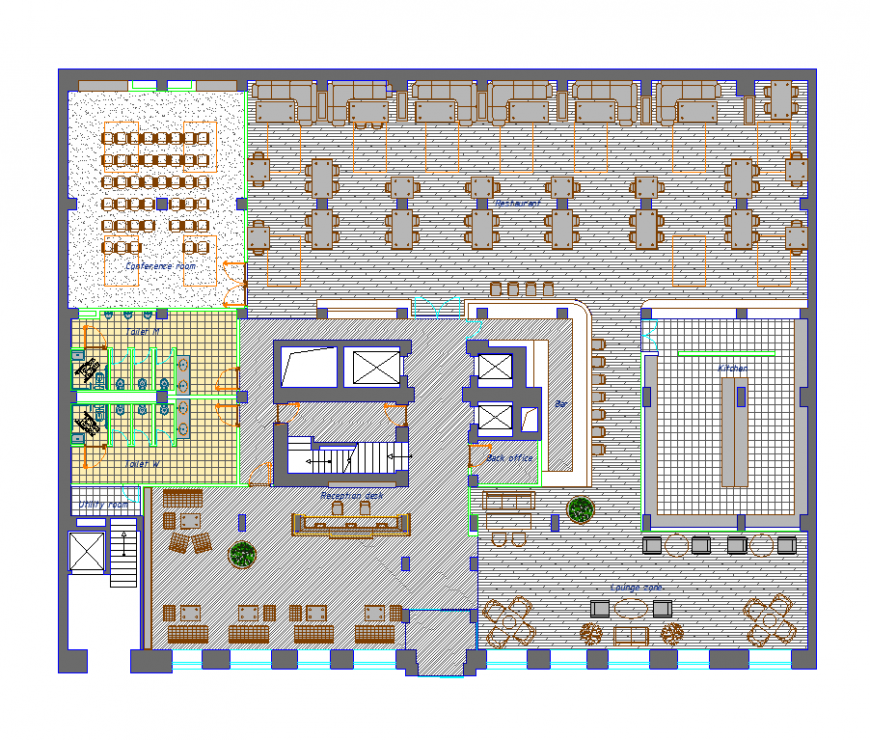 Floor plan of hotel with detail of architect dwg file