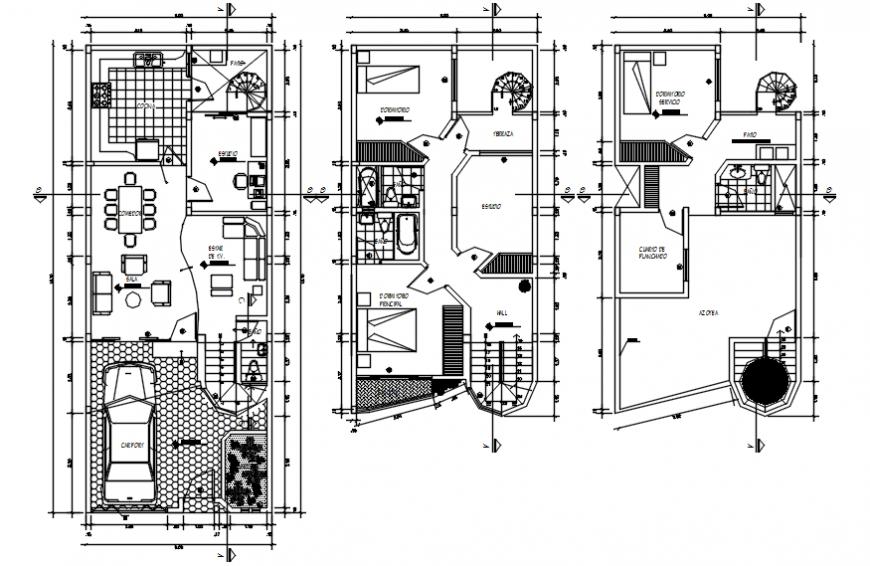 Floor plan of housing area in AutoCAD software