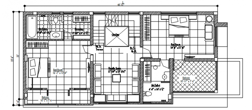 Floor plan of residential area in AutoCAD file