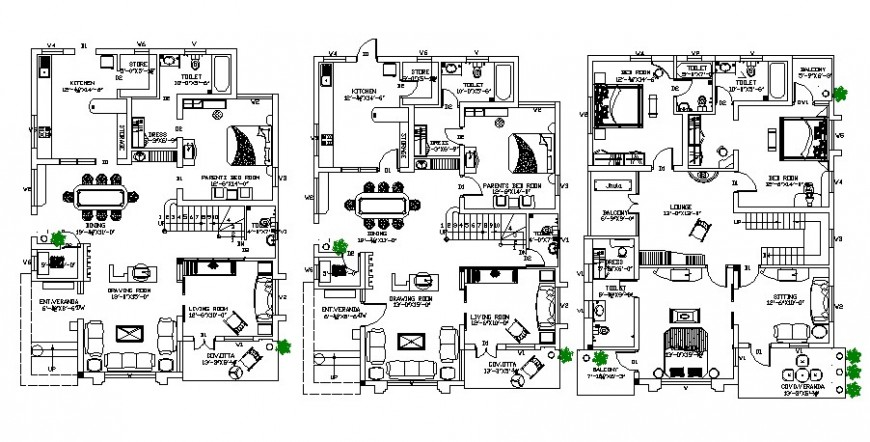 Floor plan of residential fully furnished apartment 2d view autocad file