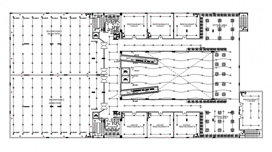 Floor plan of restaurants and showrooms in dwg file