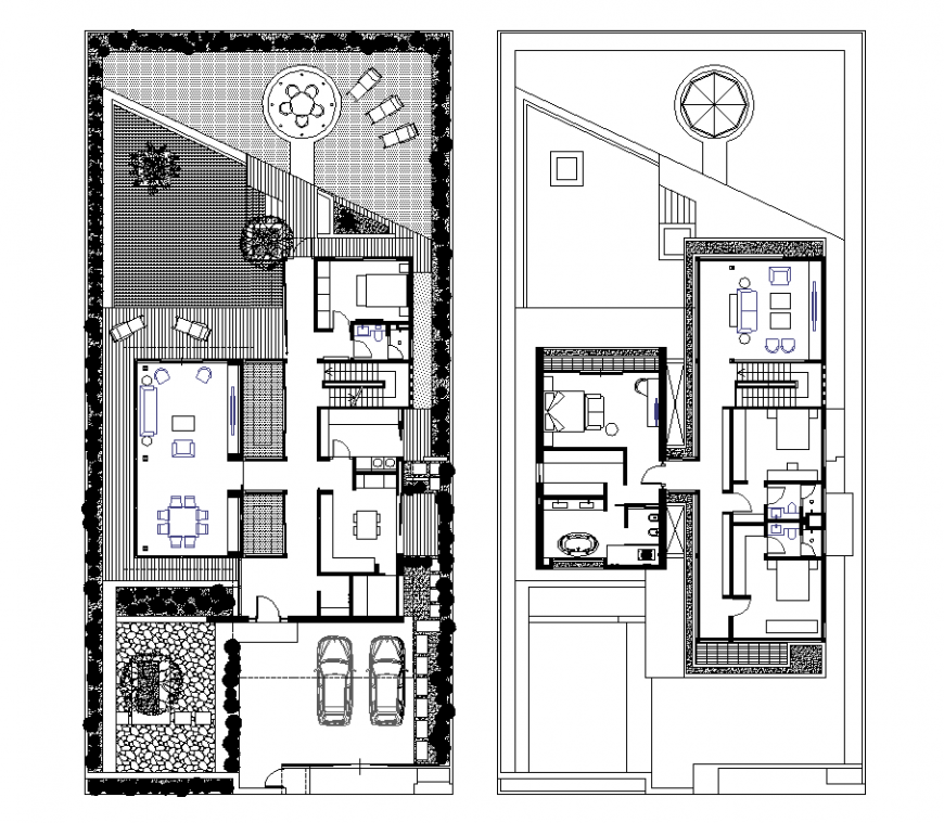Floor plan with architectural detail dwg file