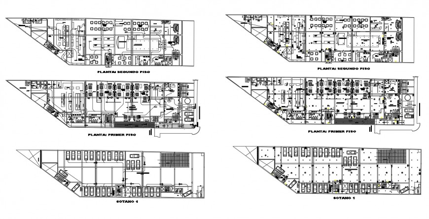 Floor plan with basement of restaurant and snack bar in auto cad