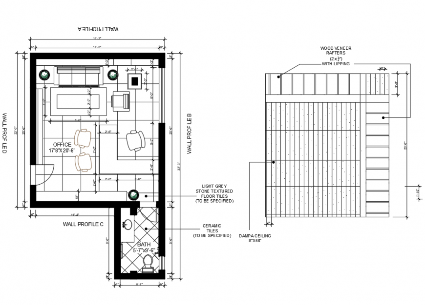 Floor plan with reflected ceiling plan details of nursing home bio-climatic sustainable dwg file