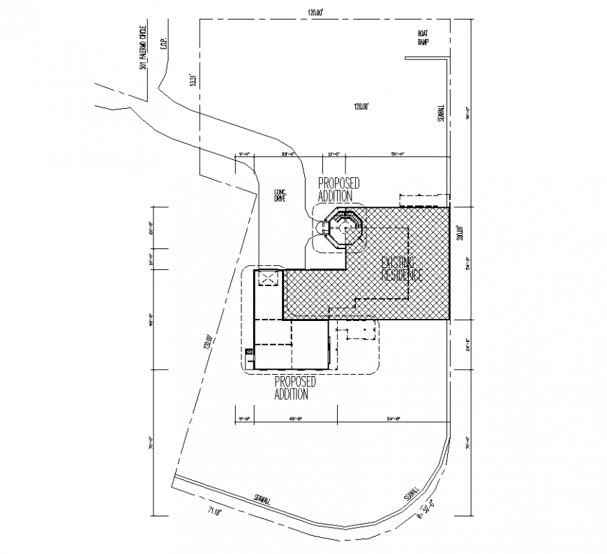 Floor plan with residential area detail of architecture dwg file