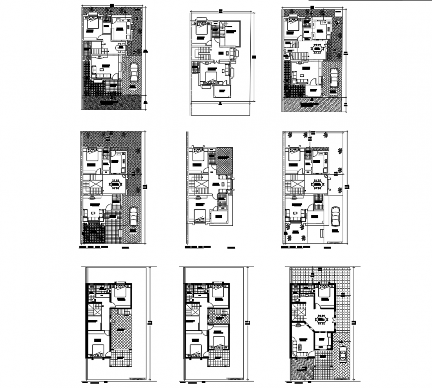Floor plan with roof plan of bungalows in auto cad