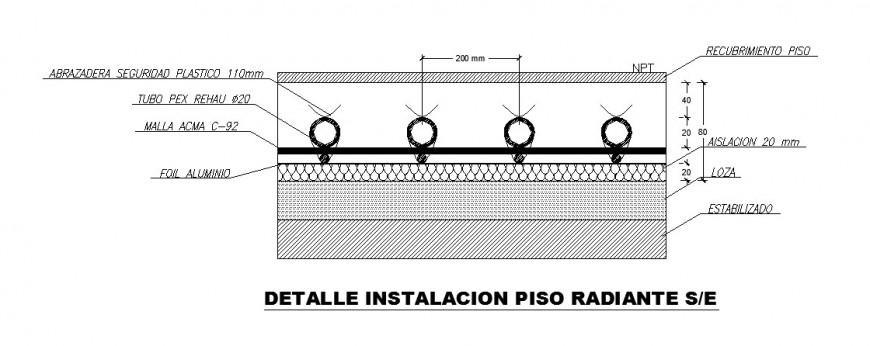 Floor radiant installation cad drawing details dwg file