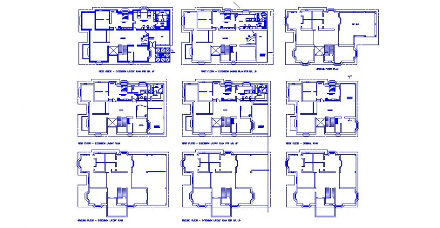 Floor working plan of residential apartments drawing in autocad format
