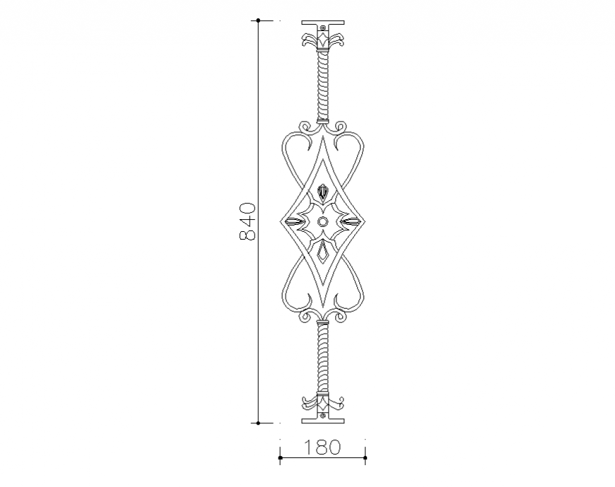 Floral pattern railing block cad drawing details dwg file