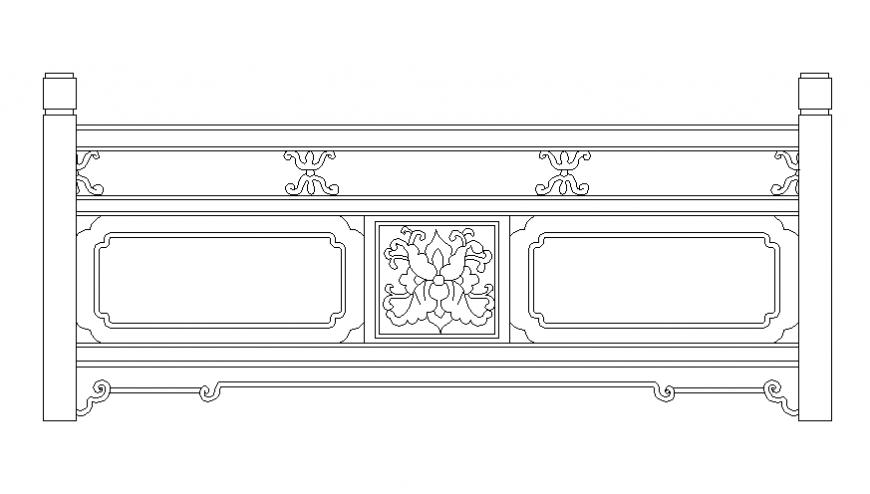 Floral pattern railing front elevation cad block details dwg file