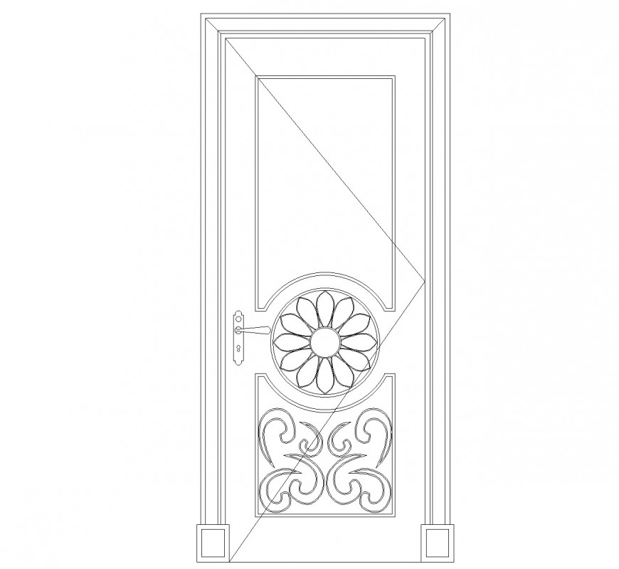 Flower pattern door in elevation view cad blocks dwg file