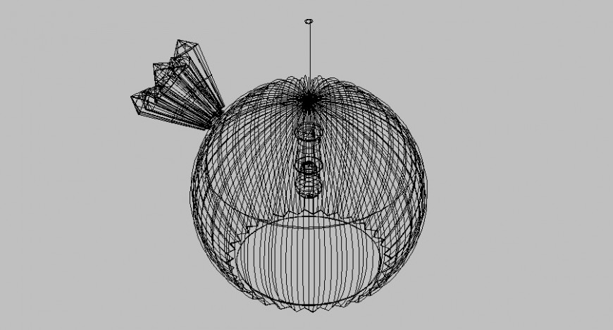 Flower plant of cactus ball 3d view in auto cad file