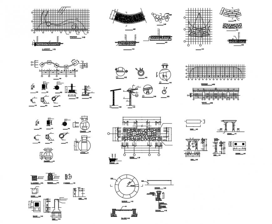 Flower rack cad construction cad drawing details dwg file