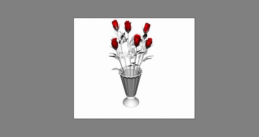 Flower vase with roses 3d model cad drawing details max file