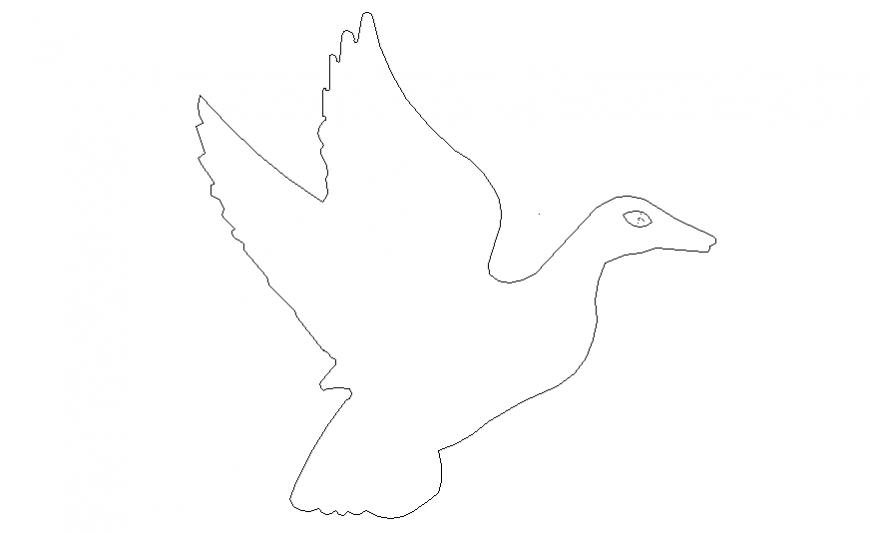 Flying duck side elevation block cad drawing details dwg file