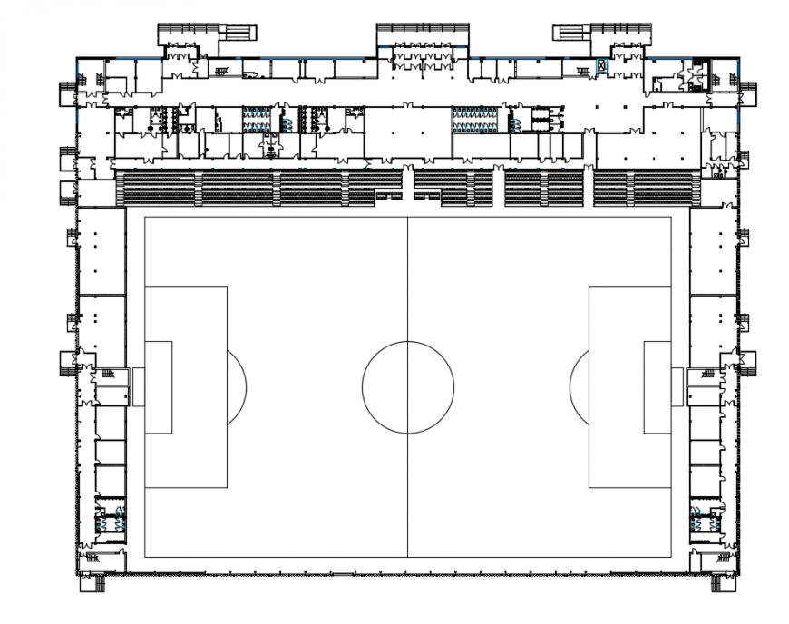 Food ball stadium with ground pitch plan cad drawing details dwg file