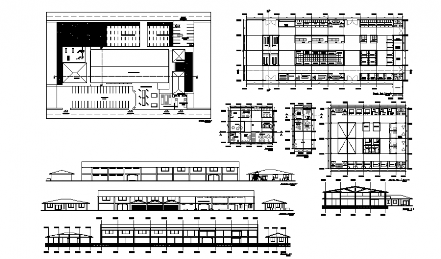 Food market plan, elevation and section detail dwg file