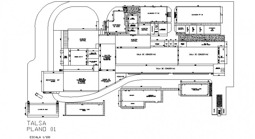 Food processing plant architecture layout plan cad drawing details dwg file