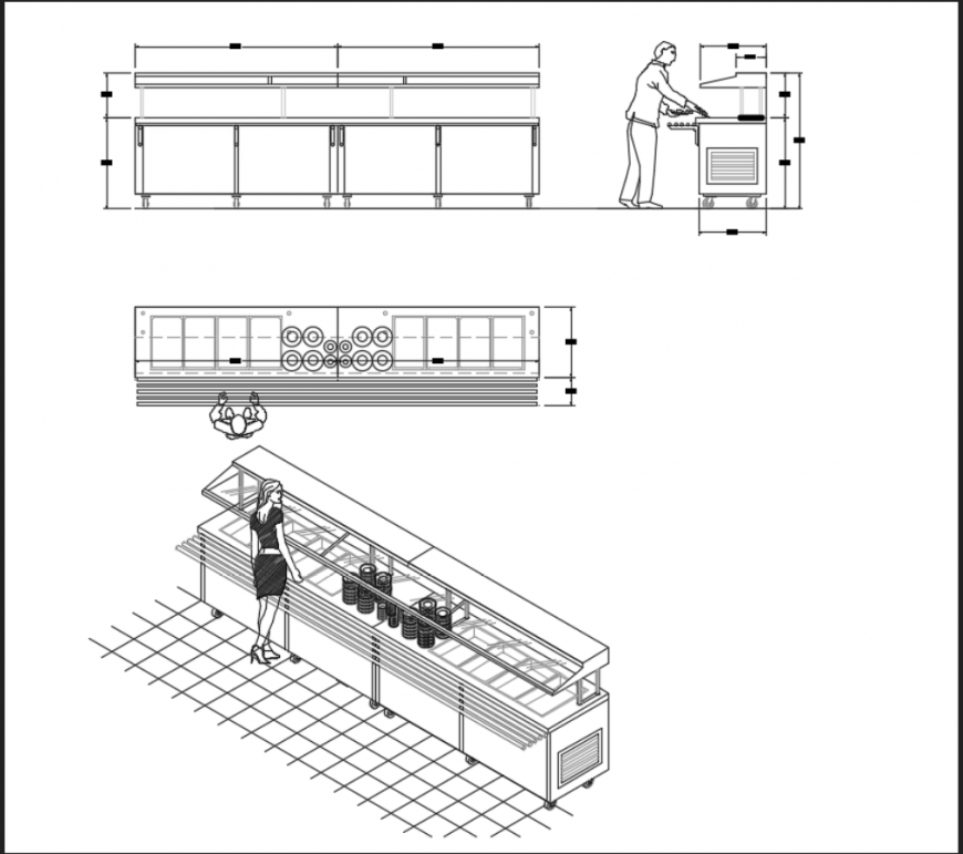 Kitchen Dwg File: Fire Grill Place Of Barbecue Kitchen Details Dwg File