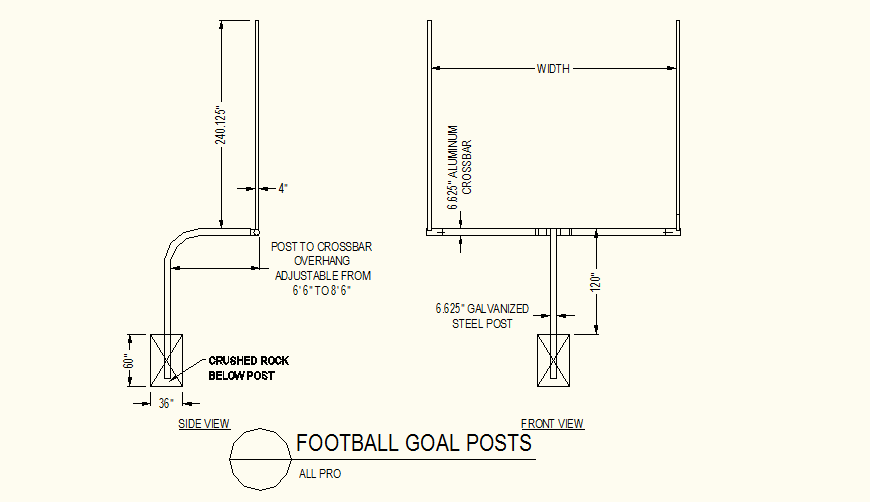 Football goal post detail elevation layout file
