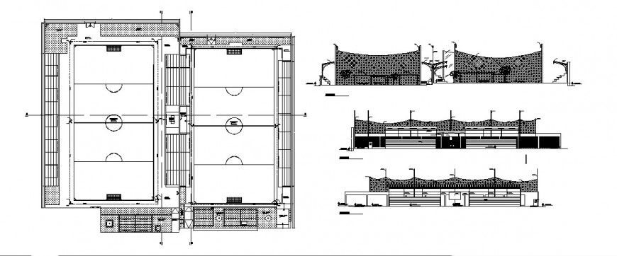 Football ground plan and elevation detail drawing in dwg AutoCAD file.