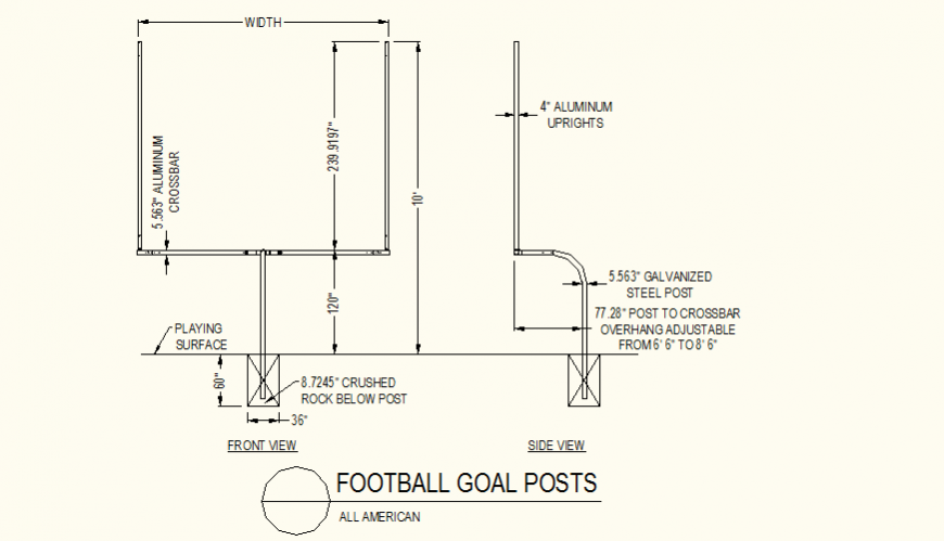 Football post detail elevation layout plan