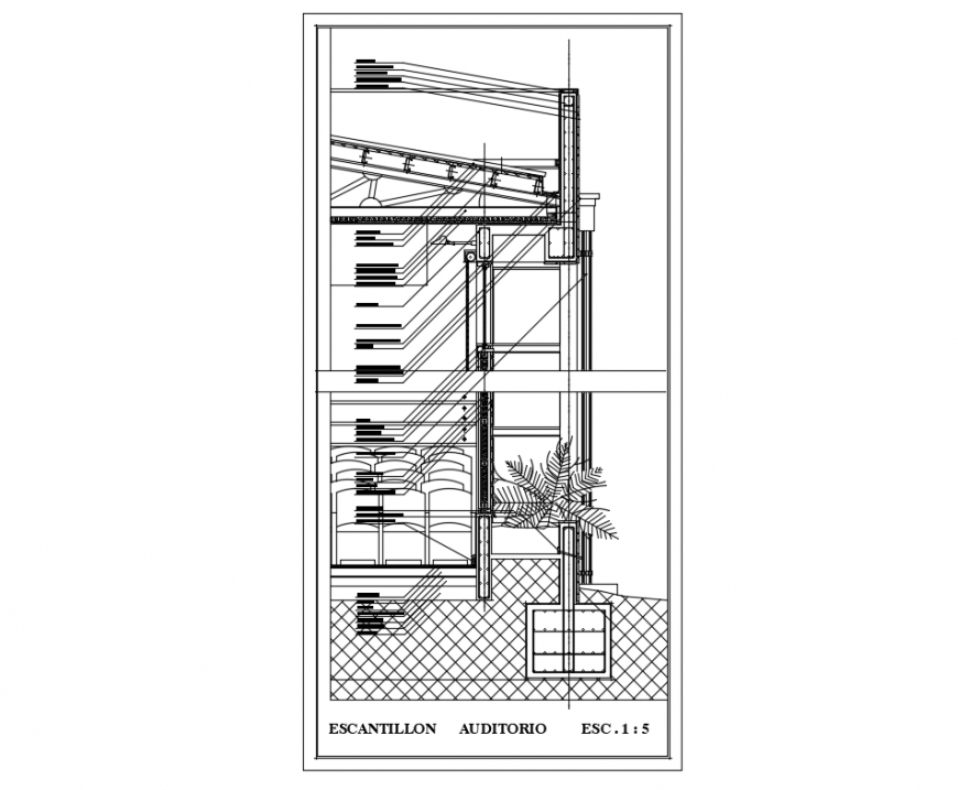 Forges square office building constructive-sectional details dwg file