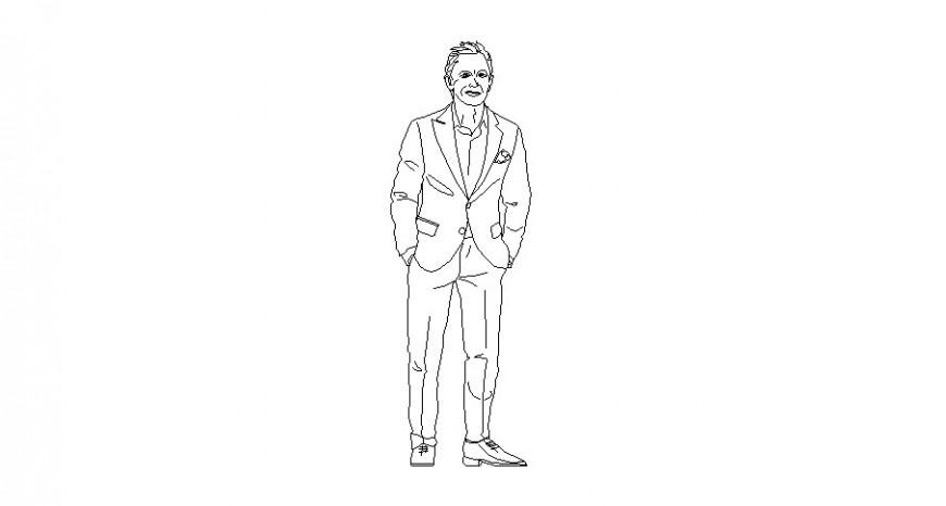Formal wear men detail drawing in autocad