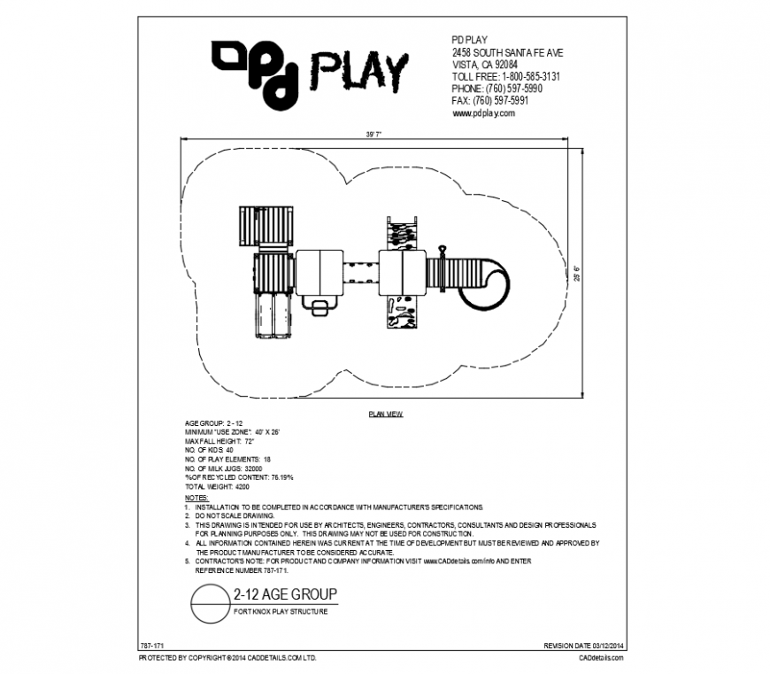 Fort knox structure play equipment details of garden dwg file