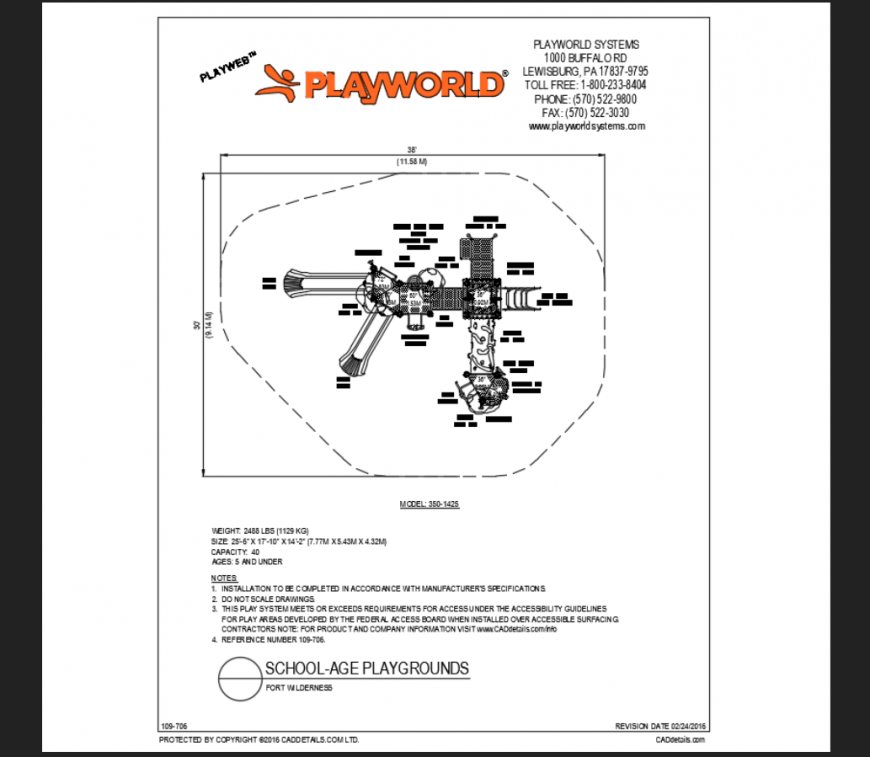 Fort welderness school age play ground play area structure details dwg file