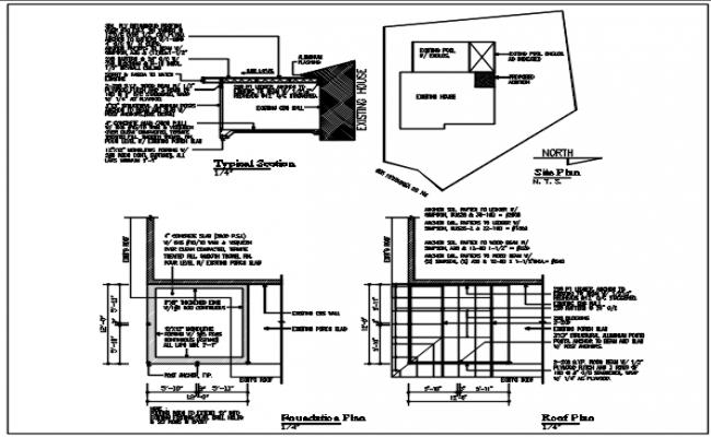 foundation plan detail, roof plan detail, typical section plan detail, north direction site plan detail dwg file