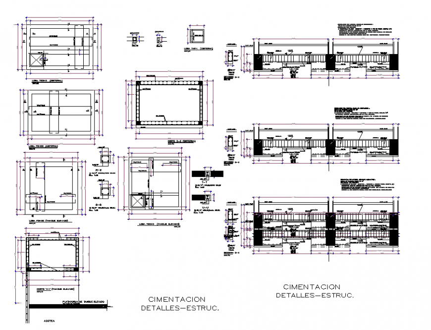 Foundation Bolivar hotel plan detail dwg file