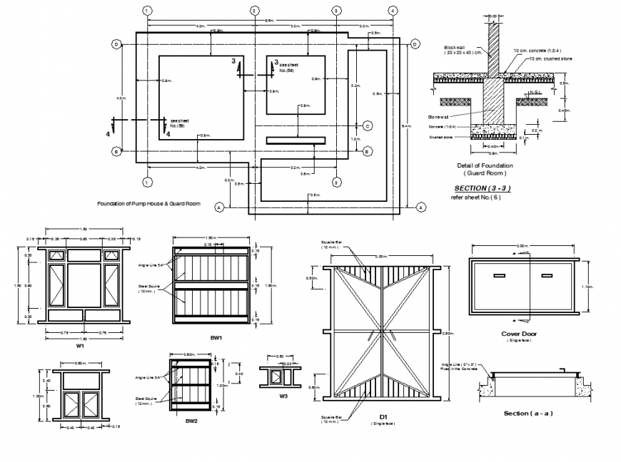 Foundation of pump house and guard room plan, elevation and section detail dwg file