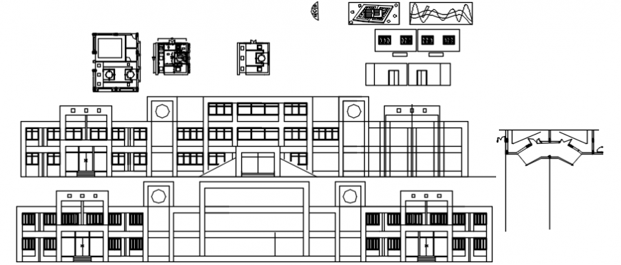 Foundation office multi-story building elevations and auto-cad drawing details dwg file