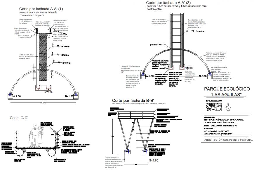 Foundation Pedestrian bridge structural drawings autocad file