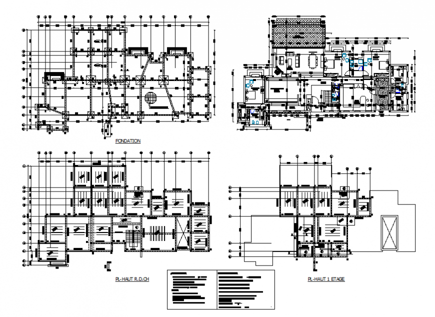 Foundation plan, layout plan and structure constructive details of one family house dwg file