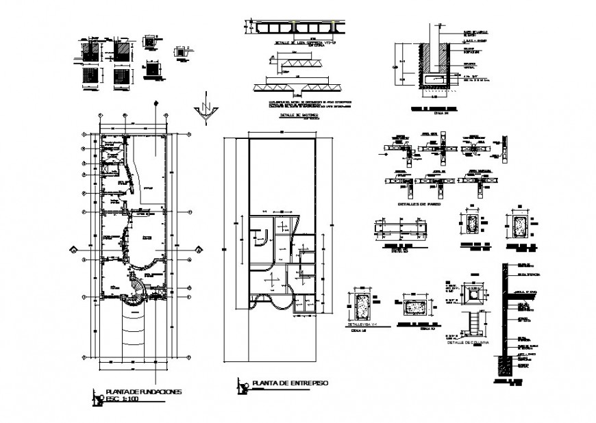 Foundation plan, layout plan and structure details of two-story house dwg file