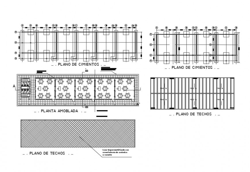 Foundation plan, structure plan and floor plan details of school cad drawing details dwg file